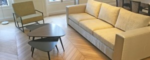 Custom sofa and coffee table in lacquer and gray frake