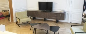 TV stand made to measure in gray frake