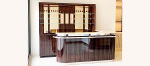 Art Deco bar made to measure in ebony and sycamore